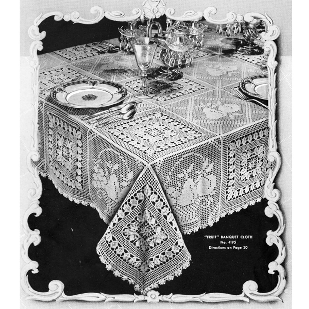 Vintage Filet Crochet Fruit Block Tablecloth Pattern