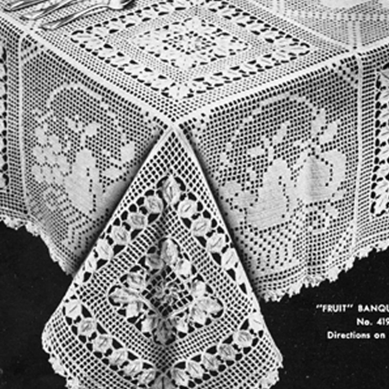 Filet Crochet Tablecloth Pattern, Fruit Motif Blocks