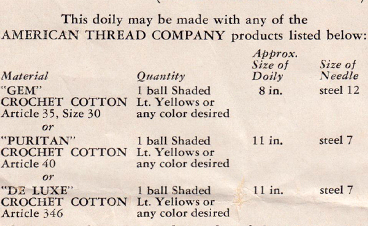 Crochet Thread Requirements for Spiderweb Doily