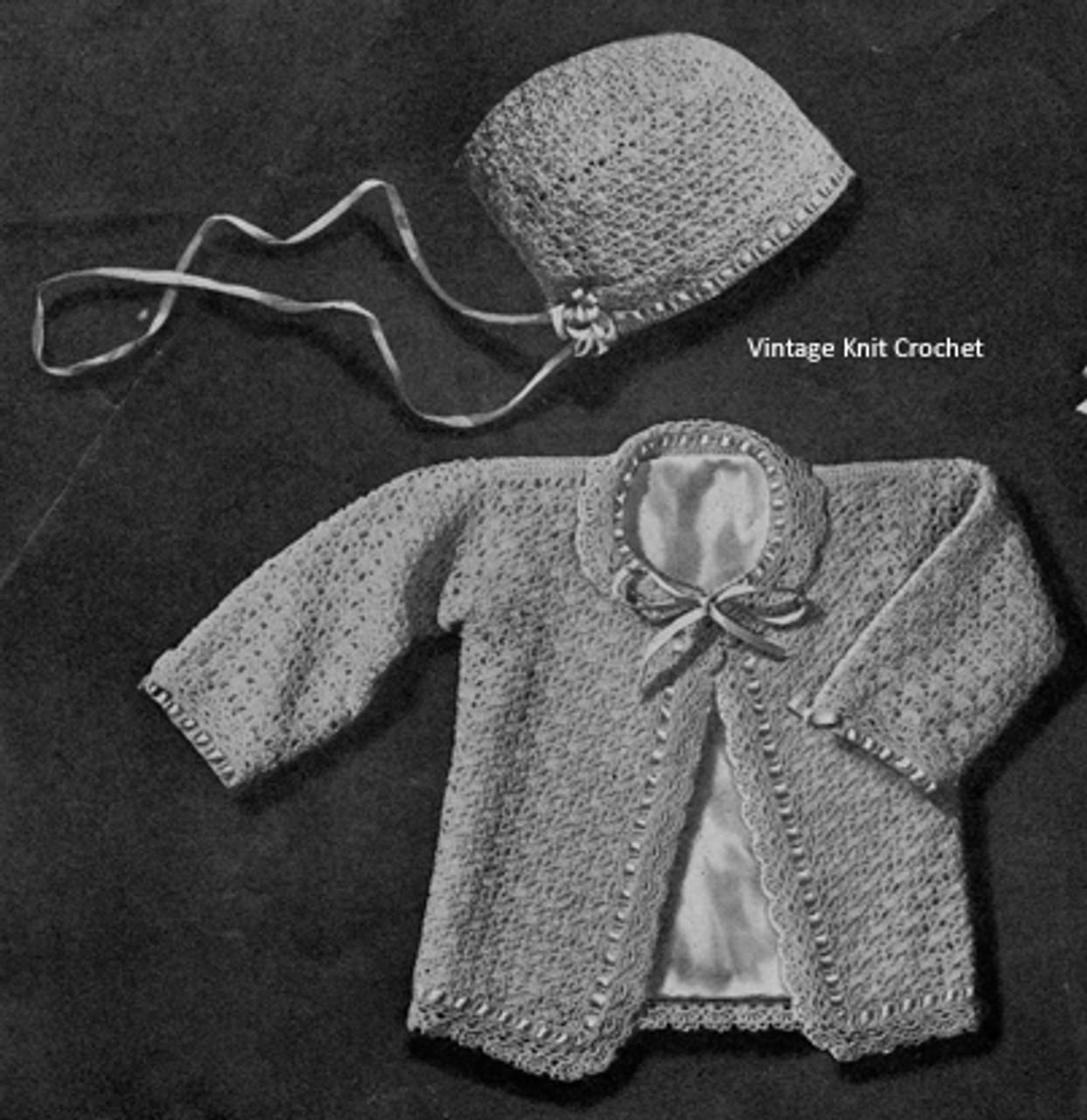 Vintage Baby Sacque and Bonnet Pattern, Vintage 1942