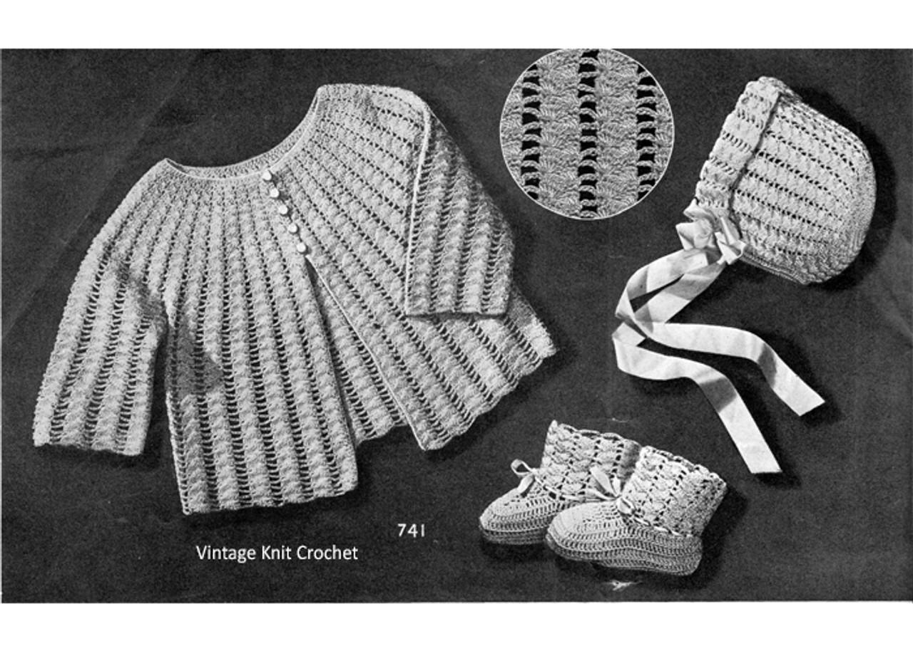 Vintage Baby Set Crochet Pattern, Sacque Bonnet Booties