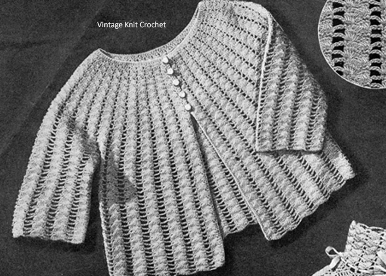 Baby Jacket Crochet Pattern, Vintage WWII