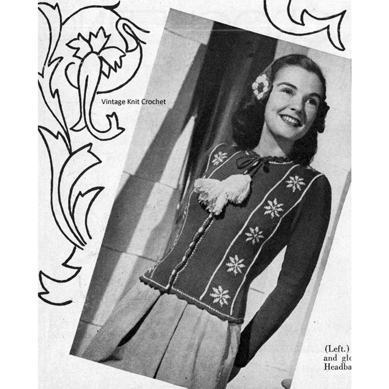 Vintage Knitted Cardigan Pattern with Snowflake Motif