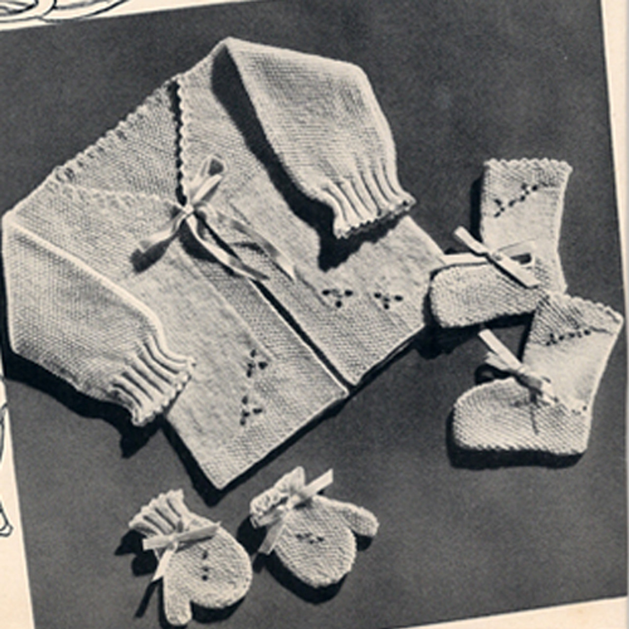 Five Piece Knitted Baby Set Pattern, Vintage 1940s