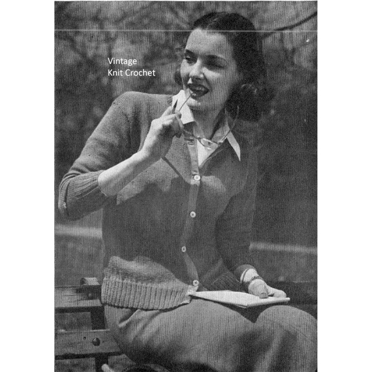 Easy Knitted Brooks Cardigan Pattern, 1944