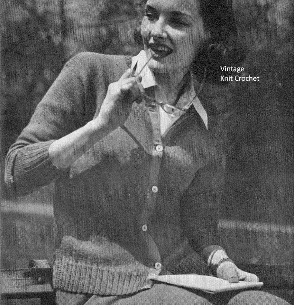 Vintage Knit Brooks Cardigan Pattern, WWII