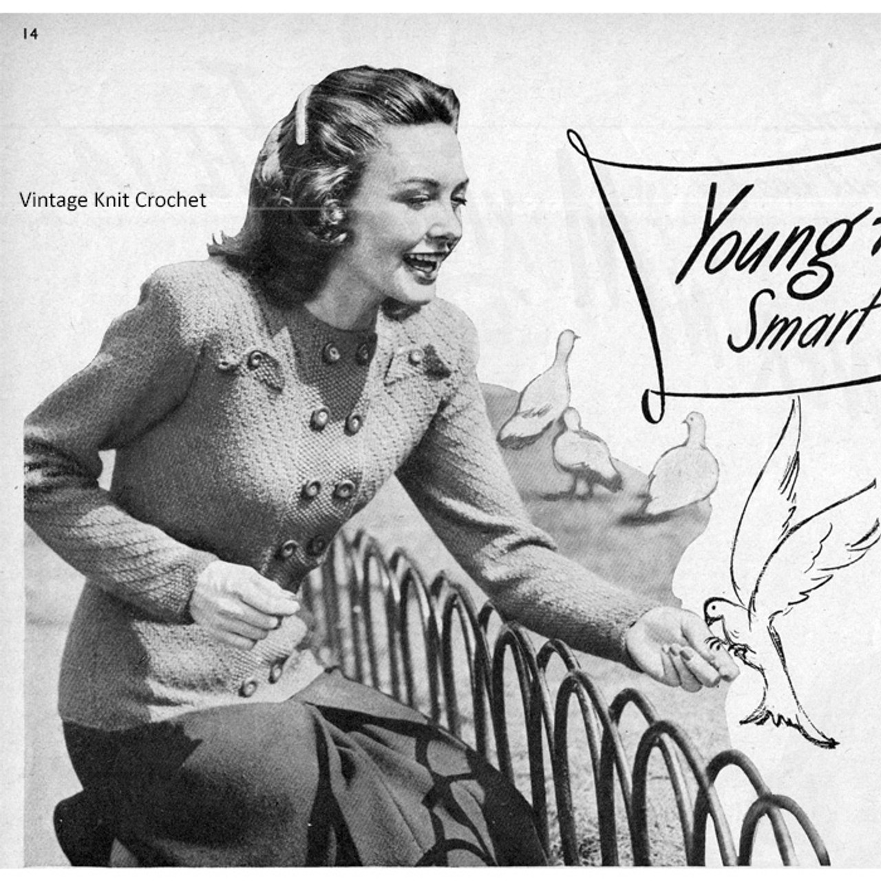 Knitting Pattern Vintage 1944 Double Breasted Jacket