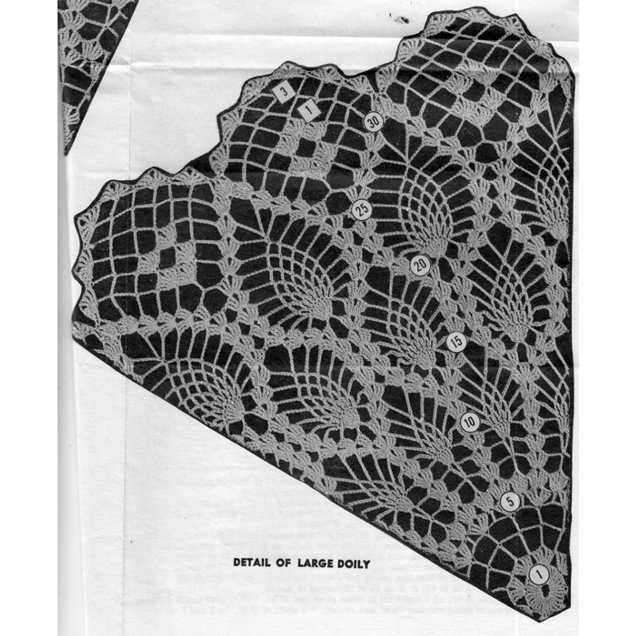 Large Pineapple Doily Pattern illustration, Design 7012