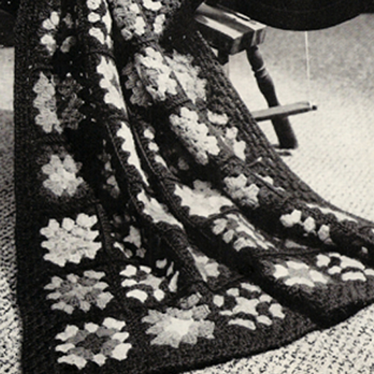 Vintage Crocheted Granny Square Afghan Pattern