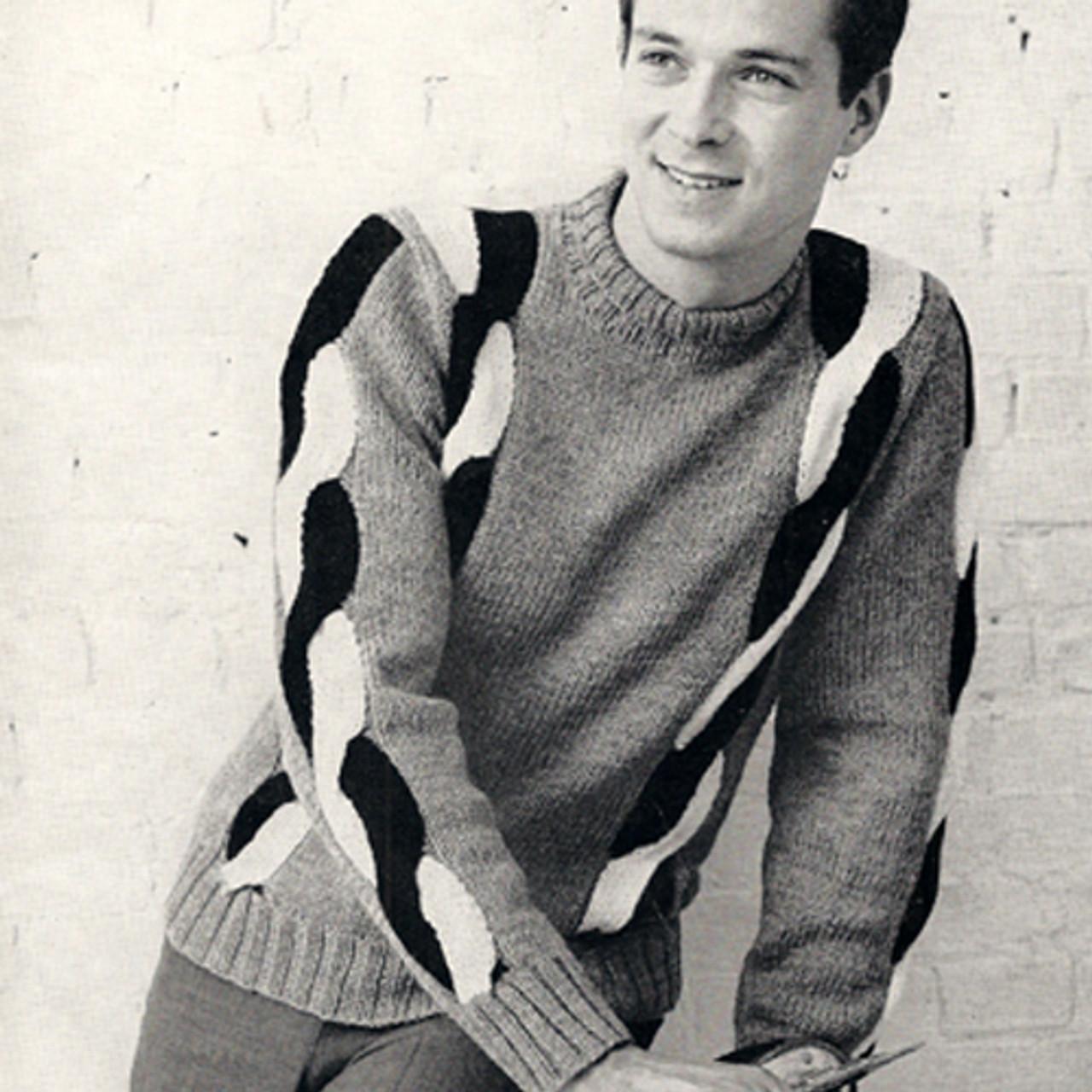 Vintage Mans Sweater Knitting Pattern, Braided Sleeves