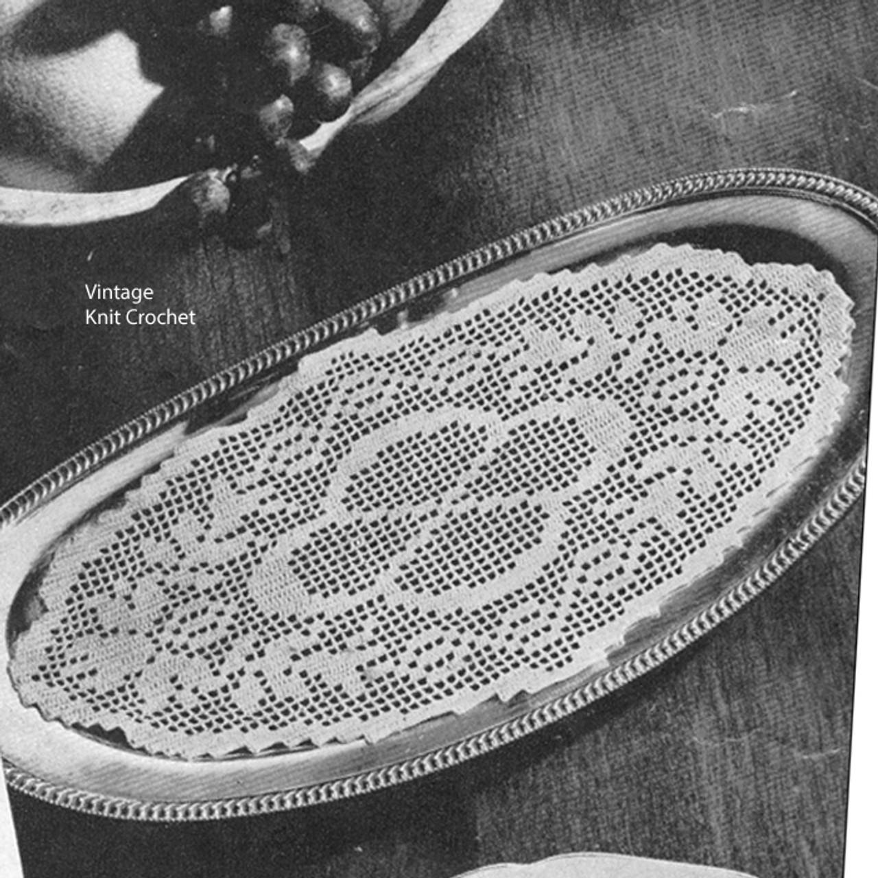 Filet Crocheted Oval Bread Tray Doily Pattern