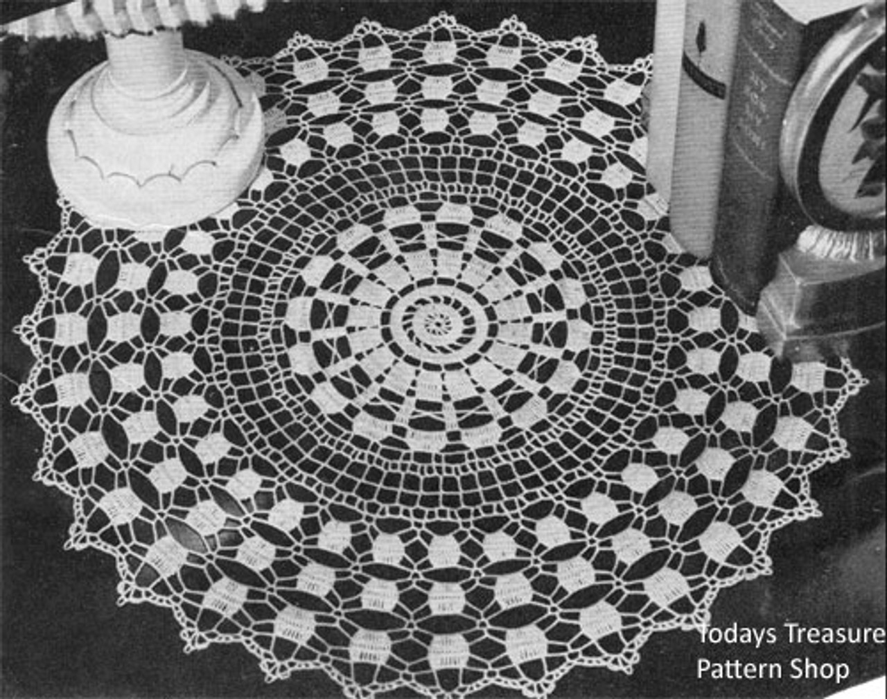 Crocheted Round Prelude Doily with Scalloped Border