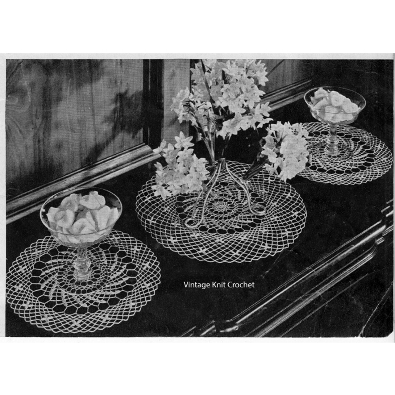 Crochet Spiderweb Lace Doily Pattern in two sizes