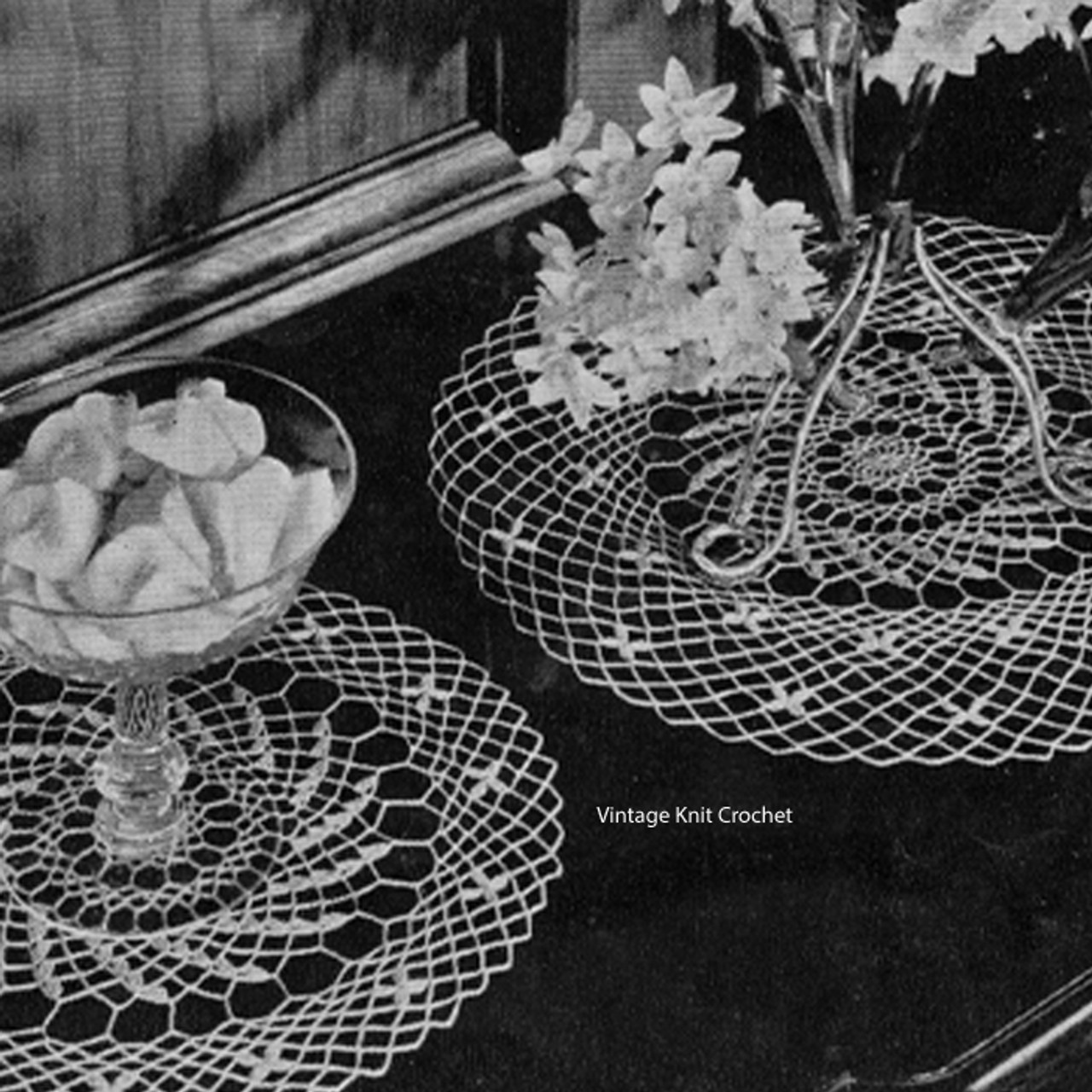 Vintage crocheted spiderweb doilies pattern