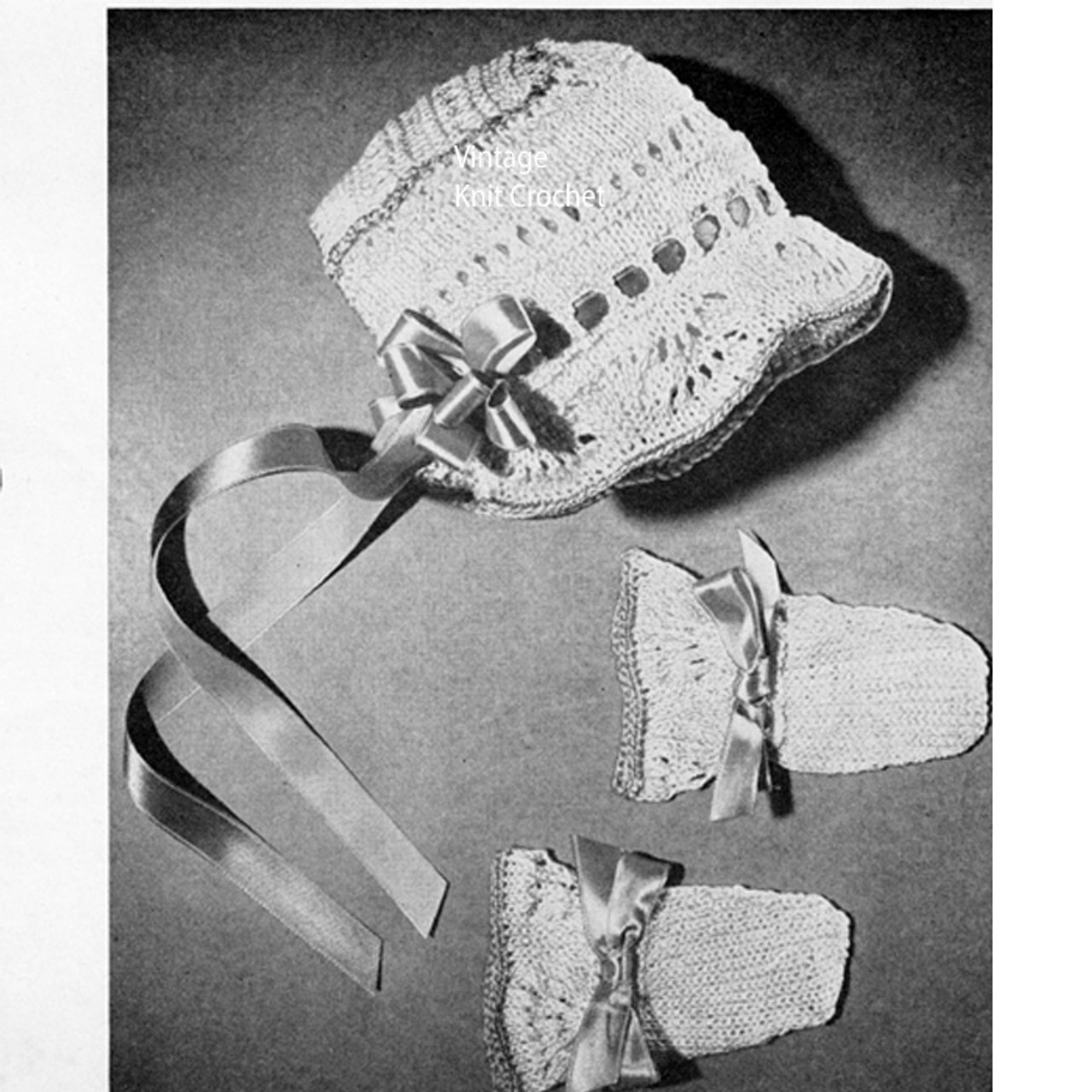 Lily Mills Knitted Baby Bonnet Mittens Pattern, Vintage 1945