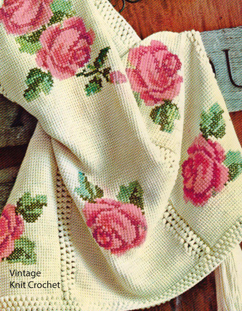 Vintage Rose Crochet Tapestry Pattern, Long Tassels