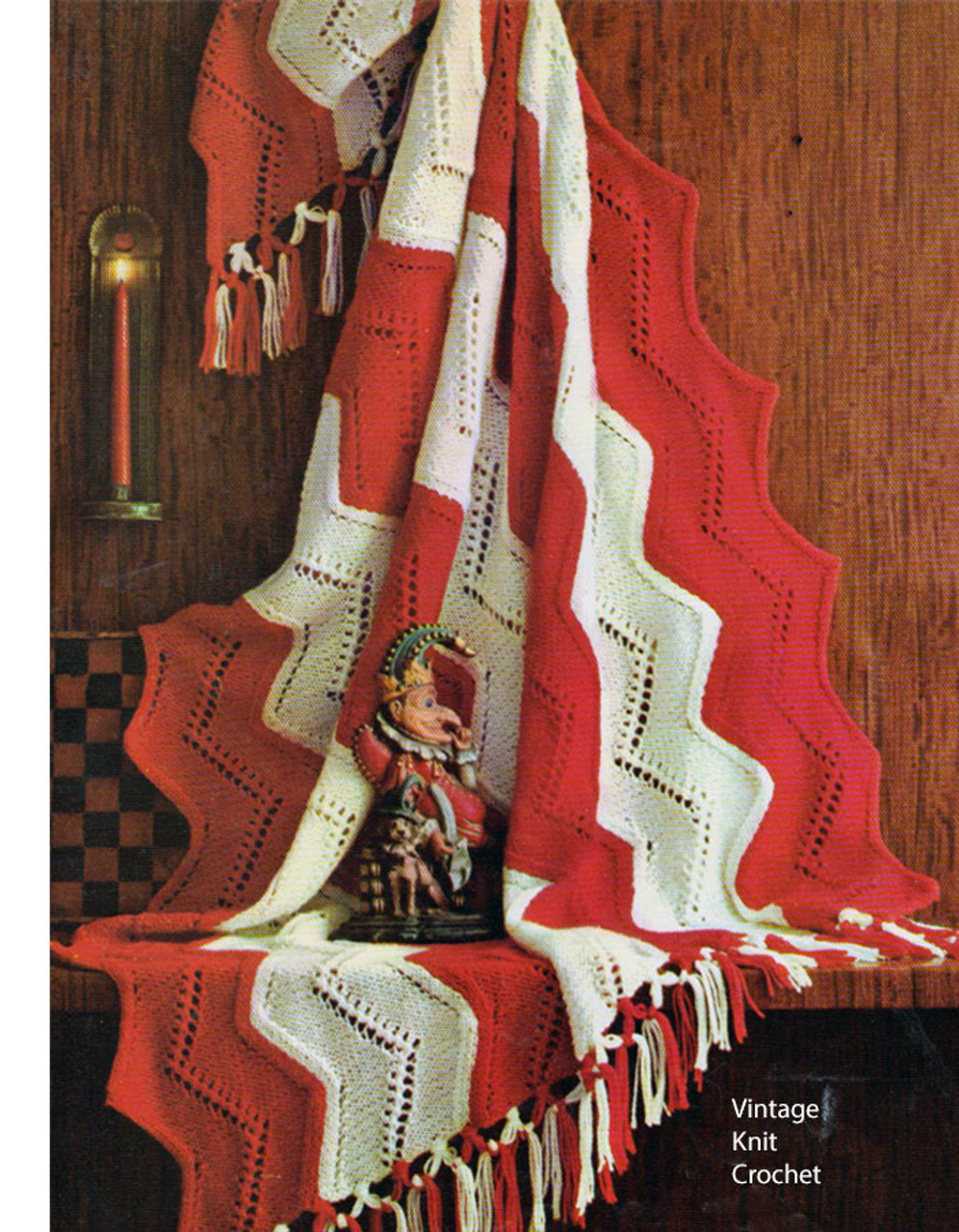 Striped Red White Knitted Afghan Pattern