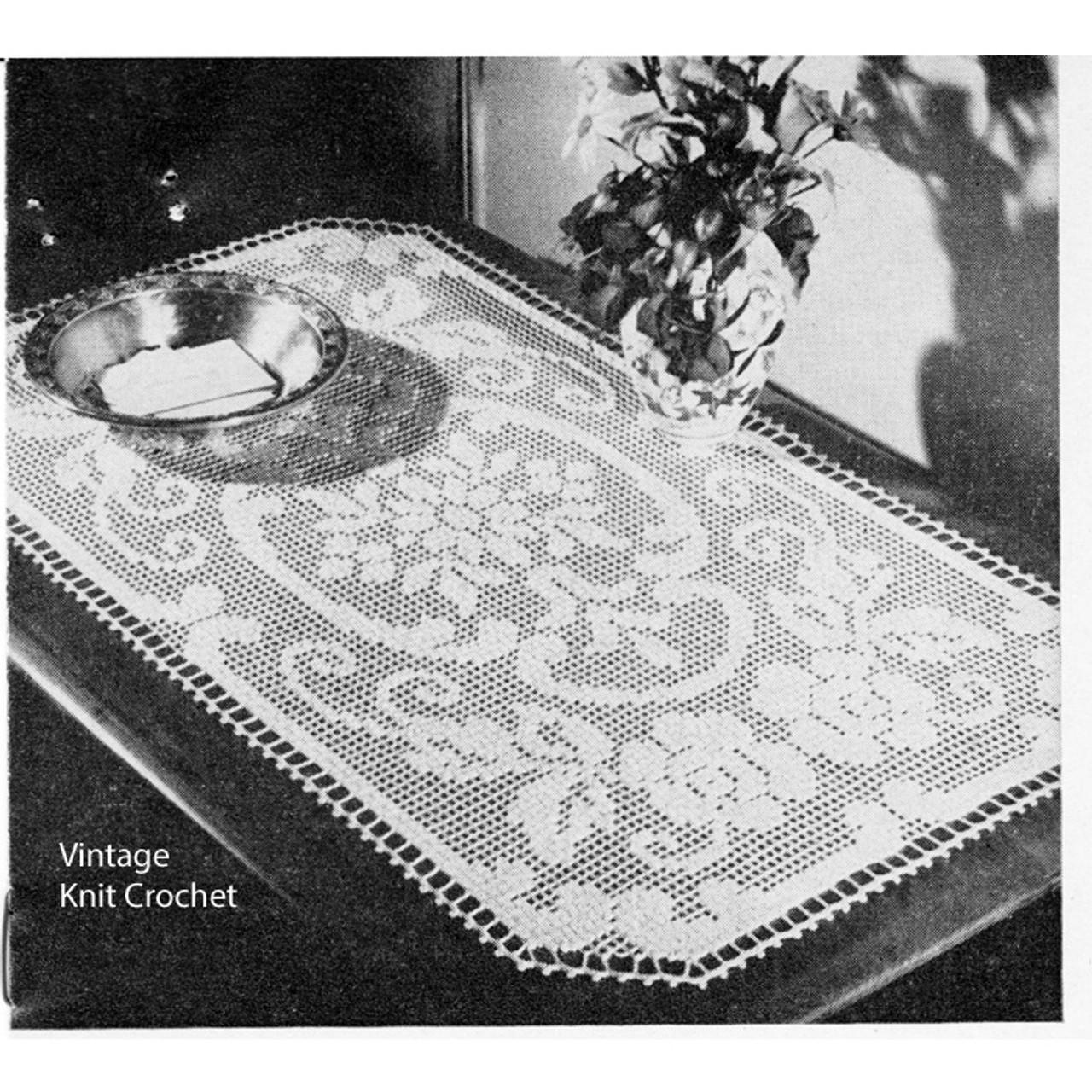 Rose Scroll Filet Crochet Centerpiece Pattern