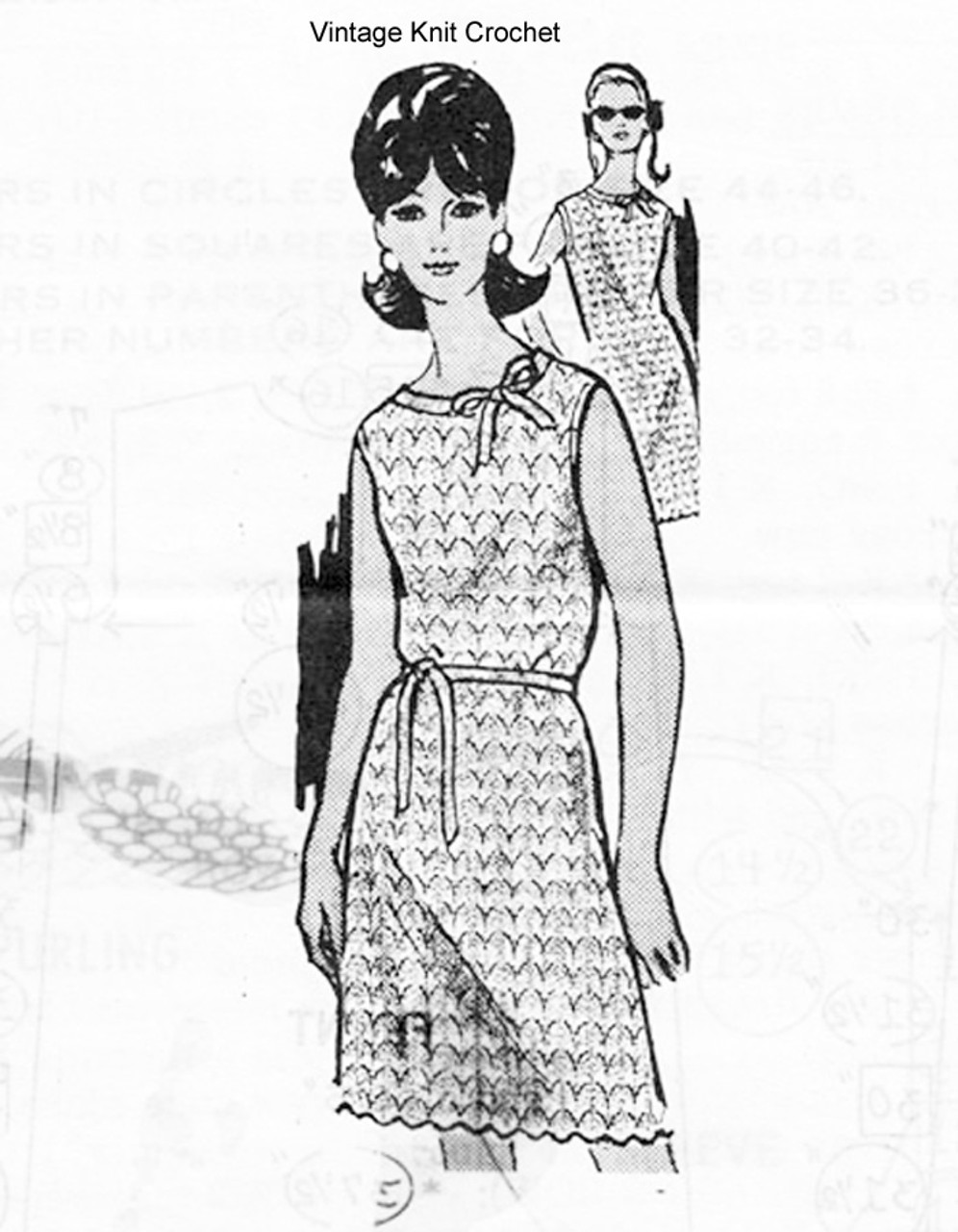Mail Order Knitted Dress Pattern Design 878