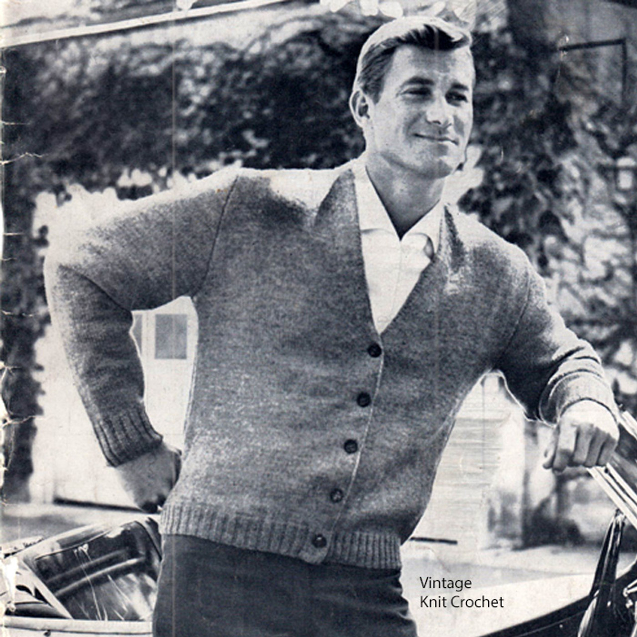 Vintage Mans V-Necked Cardigan Knitting Pattern