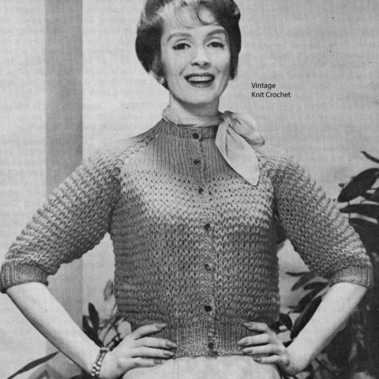 Coats Clarks Leaflet W-770 Two Skein Knit Cardigan Pattern