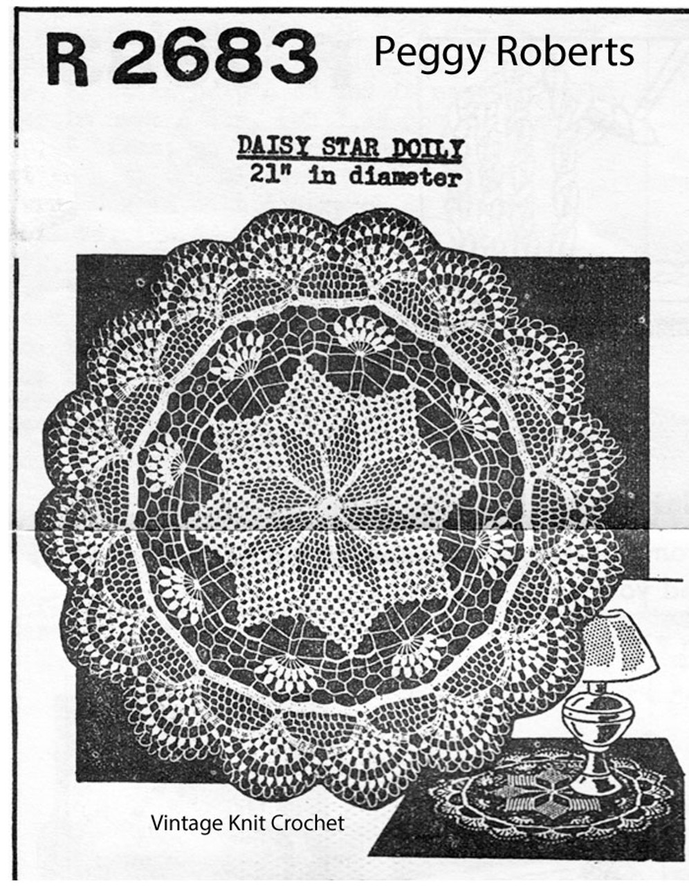 Daisy Star Crochet Doily Pattern, Peggy Roberts R-2683