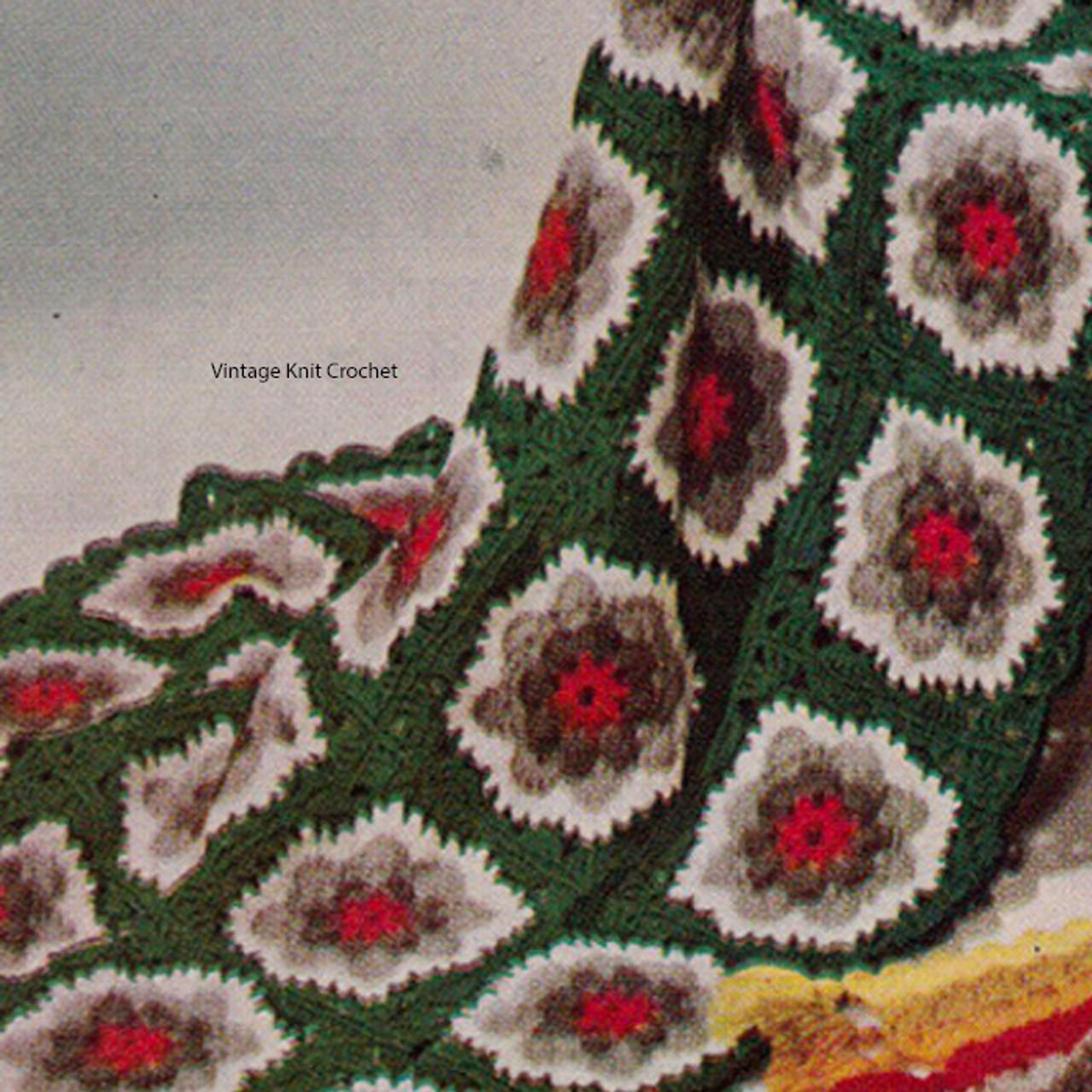 Vintage Crocheted Flower Block Afghan, Nasturtium
