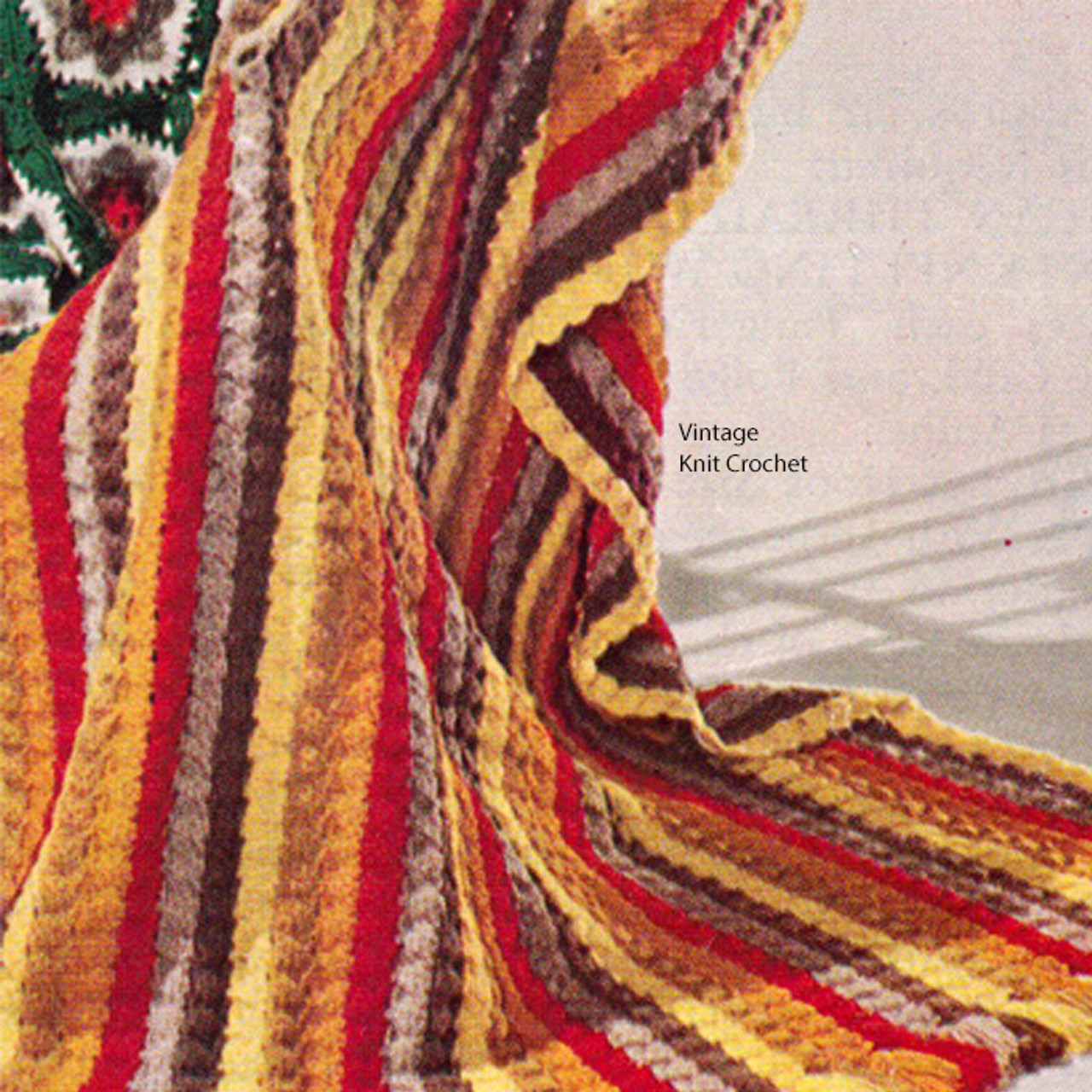 Vintage Striped Afghan Pattern Crocheted in Shell Stitch