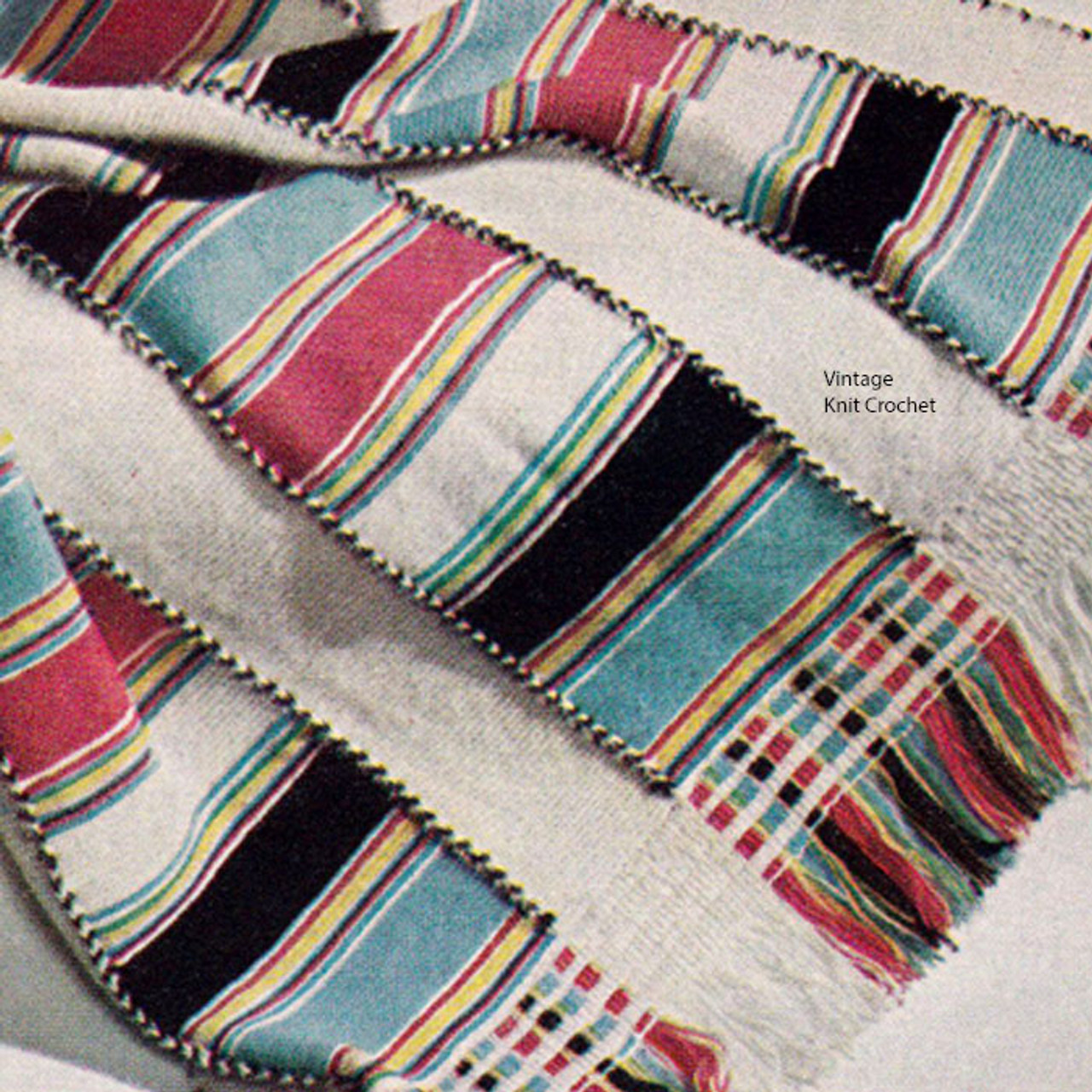 Knitted Afghan, Striped in Afghan pattern stitch