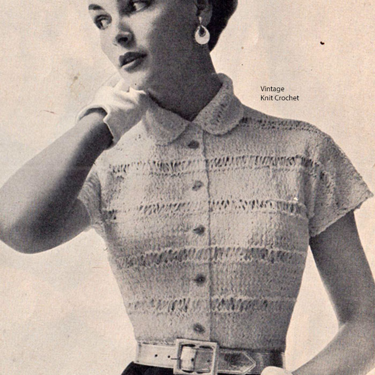 Vintage Ribbon Blouse Pattern with Peter Pan Collar