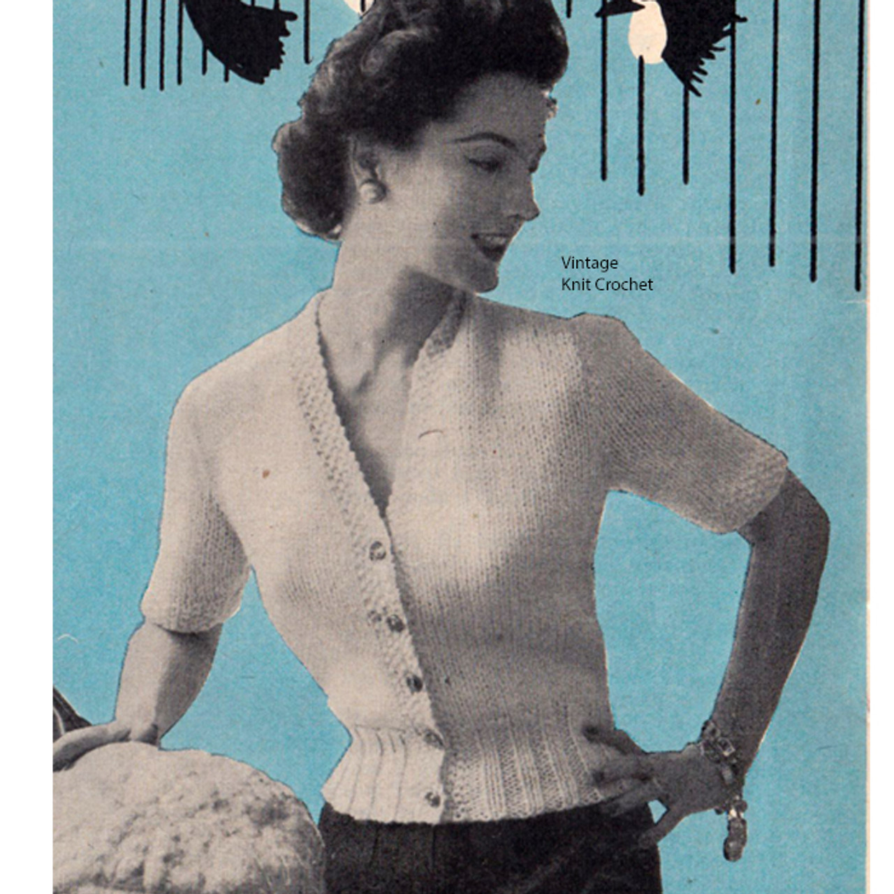 Bulky Knit Cardigan Blouse Pattern, Short Sleeve