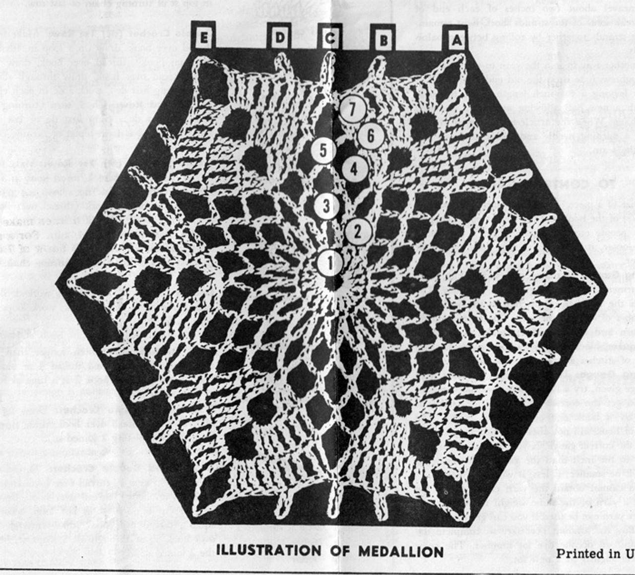 Crochet Star Hexagon Medallion Illustration, Alice Brooks 7180