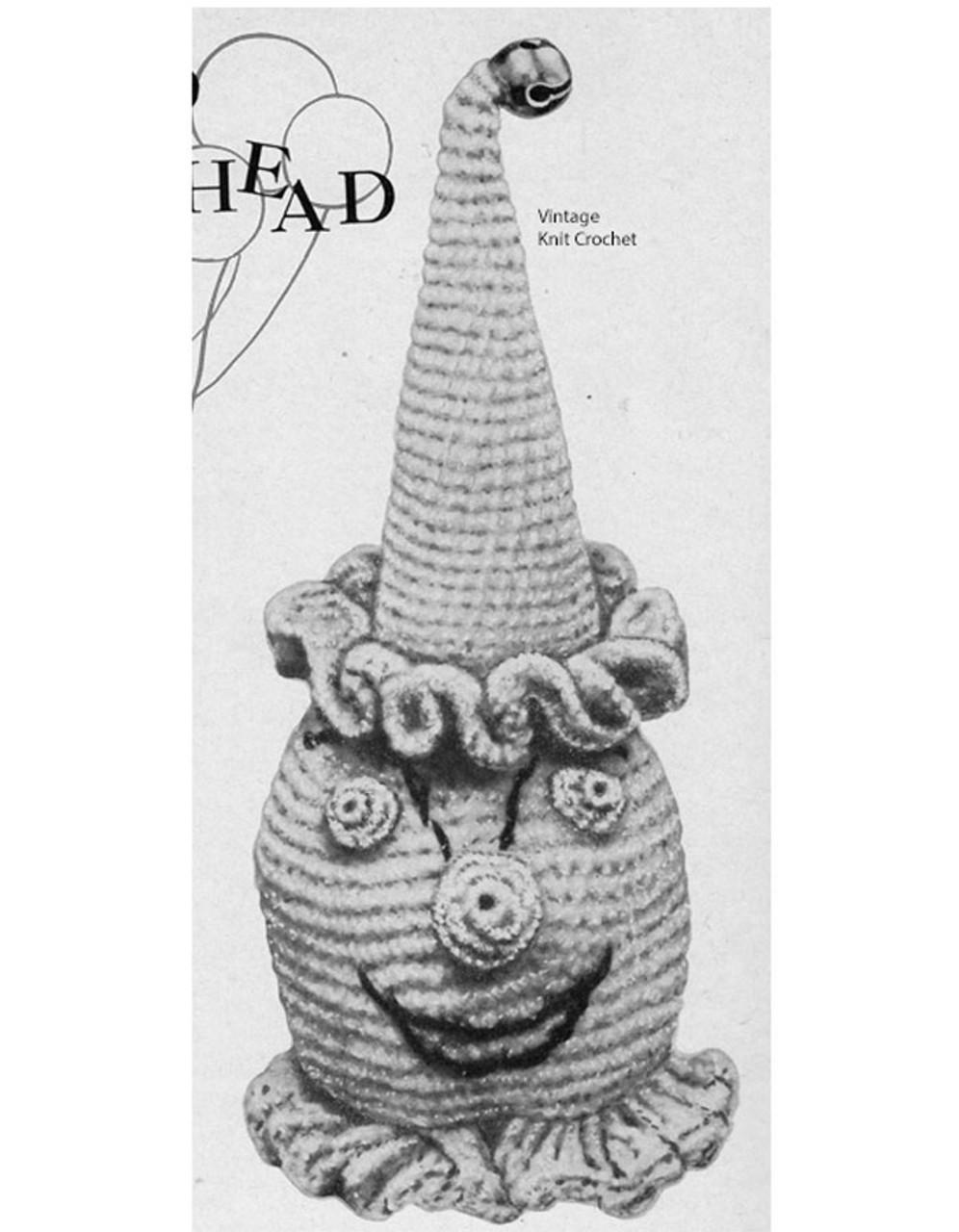 Vintage Crochet Clown, Stuffed Toy Pattern
