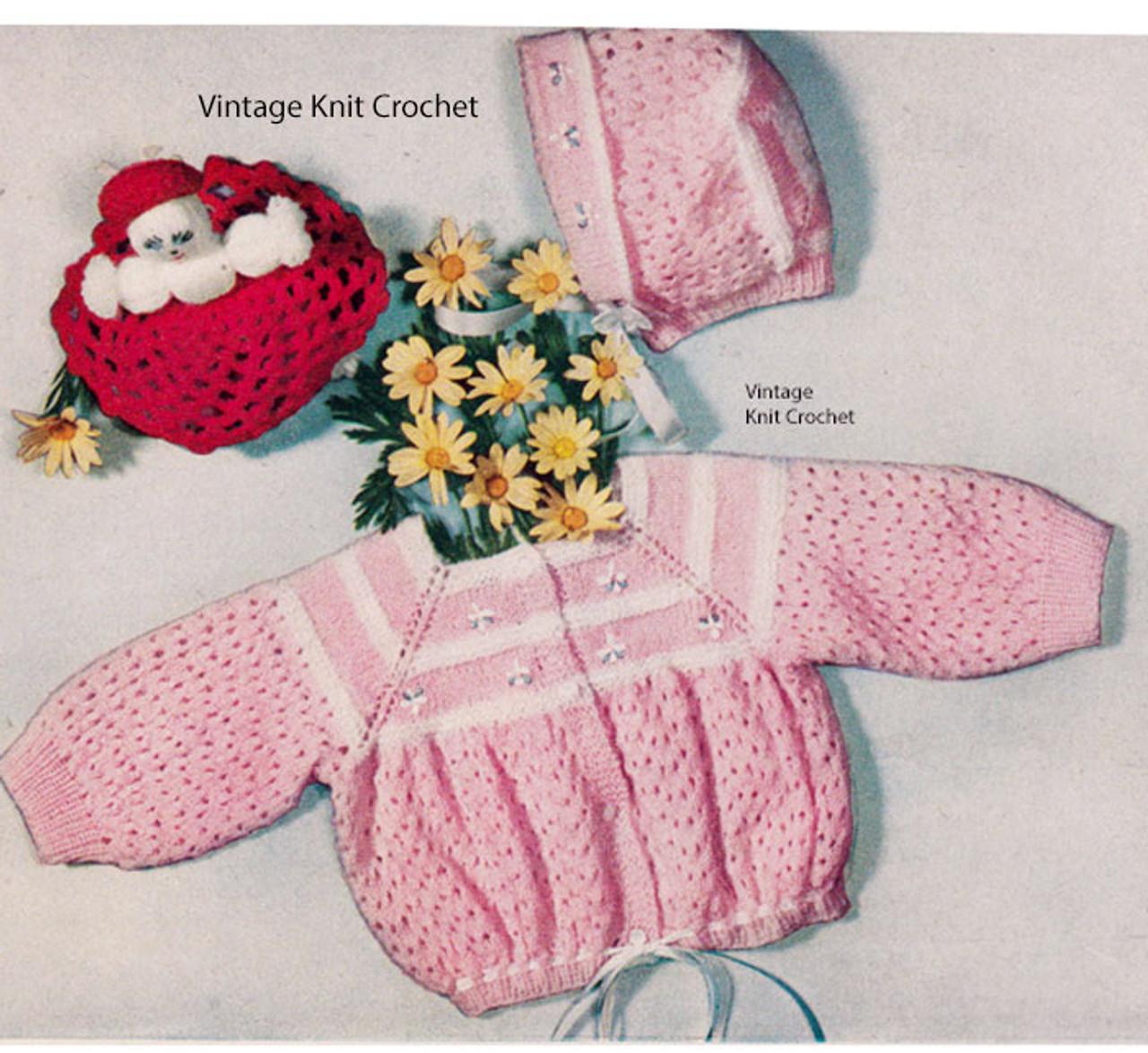Baby Girl Crochet Jacket Bonnet Pattern