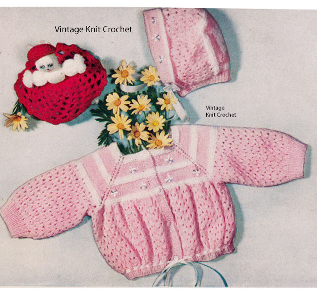 Girls Knitted Baby Jacket Bonnet Set