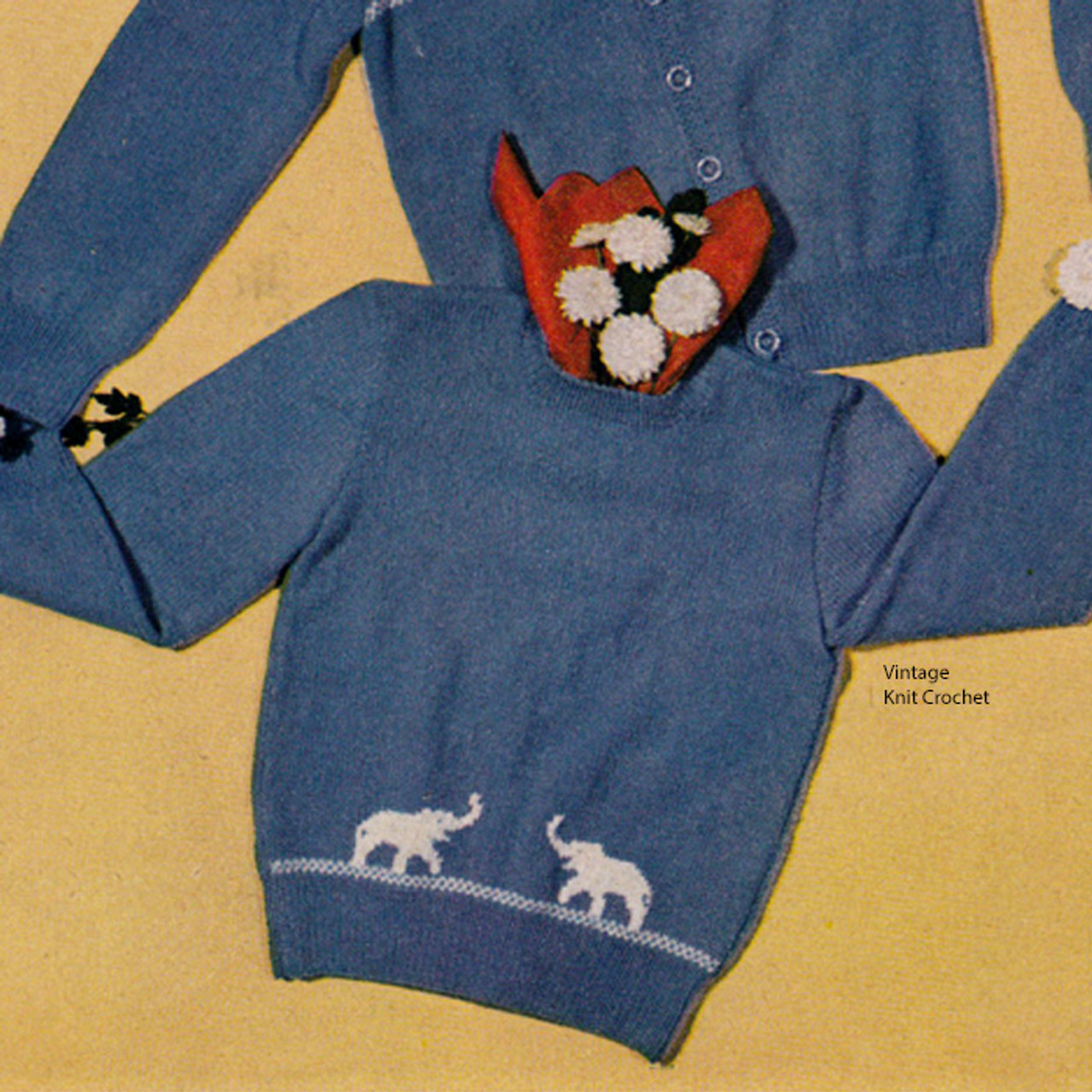 Childs Knitted Pullover Pattern, Elephant Motif