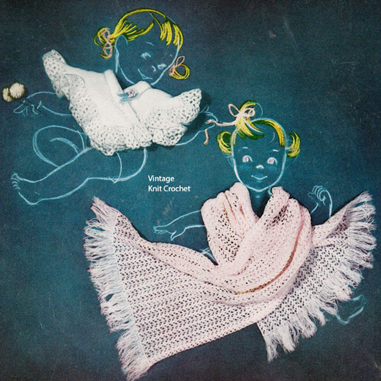 Knitted baby shoulderette, shawl pattern