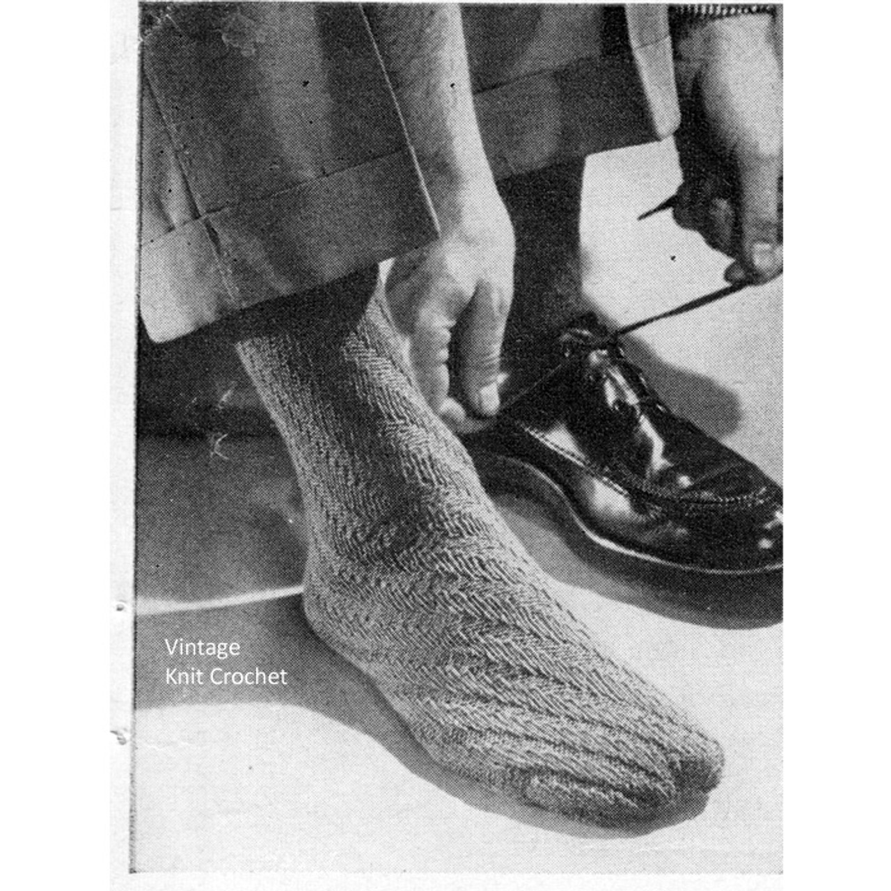 Mans Vintage Knit Dress Socks Pattern
