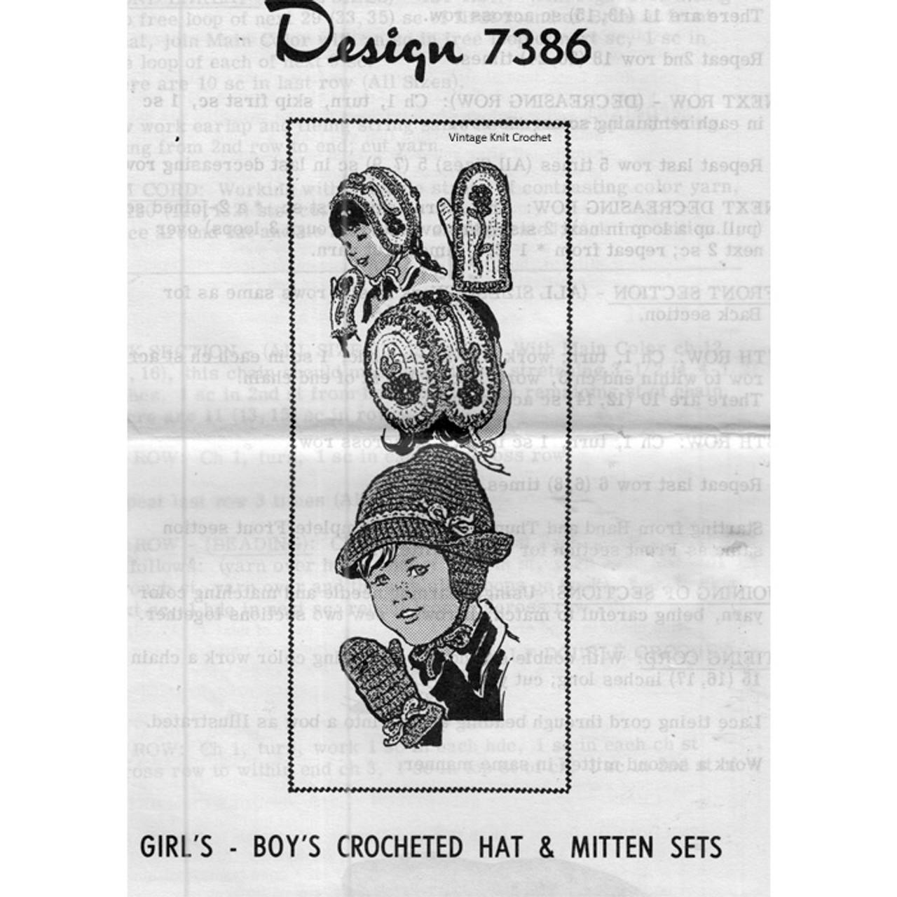 Mail Order Design 7386, Childs Crochet Hat Mitterns Pattern