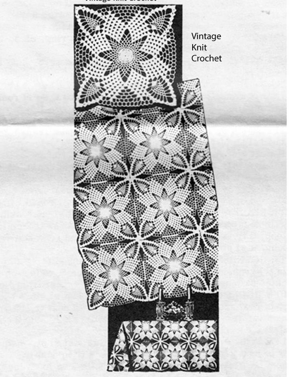 Mail Order Crochet Star Square Pattern, Alice Brooks 7264