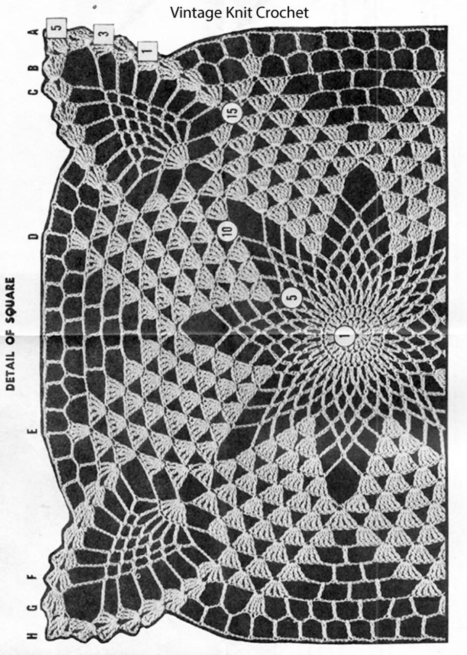 Crochet Square Pattern Stitch Illustration for Design 7264