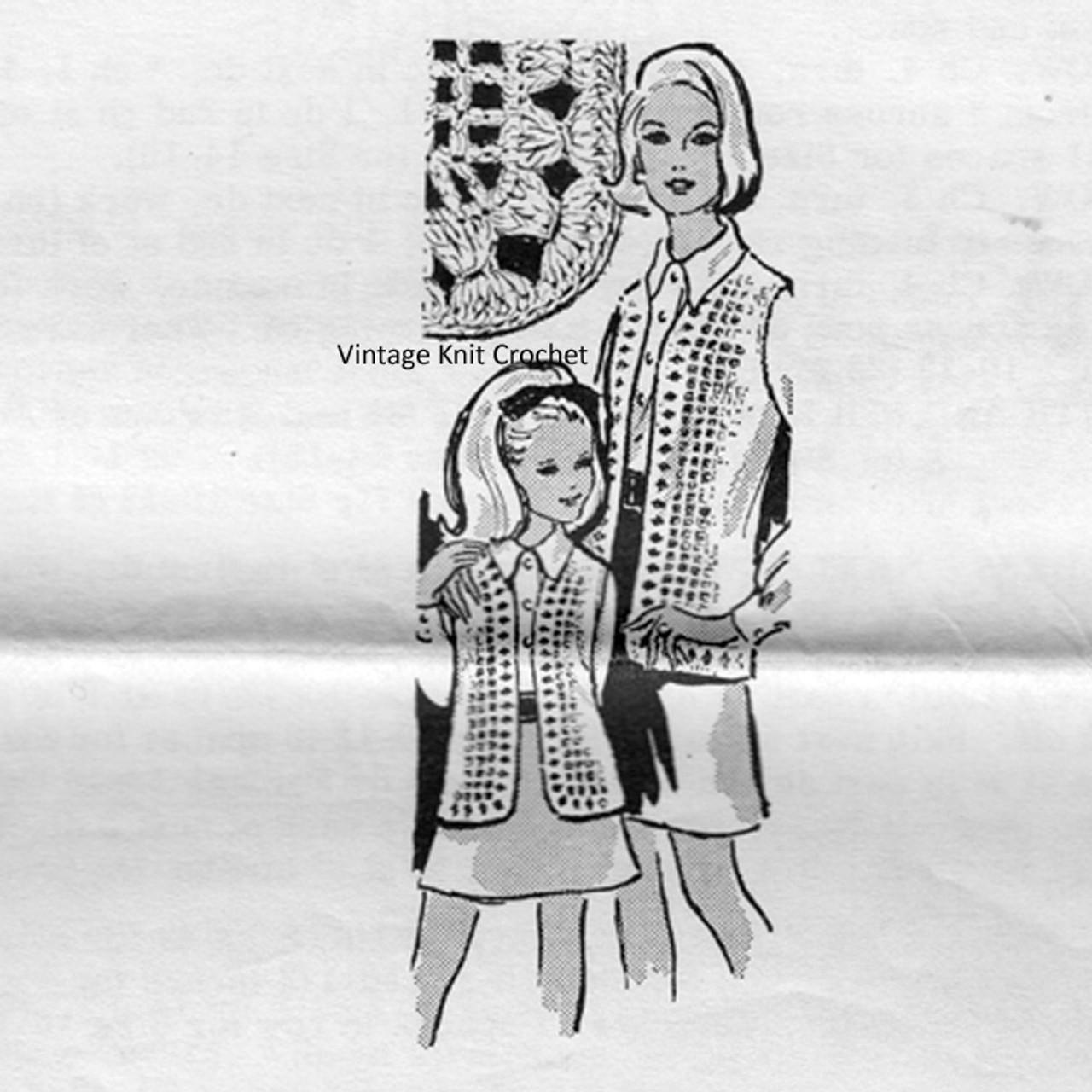 Mother Daughter Crochet Vests Pattern