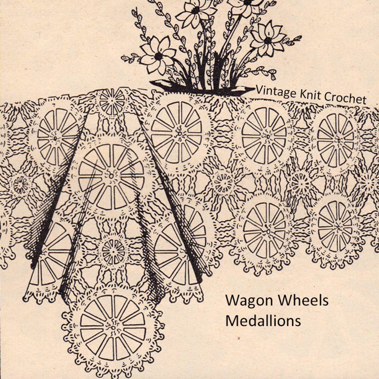 Crocheted Wagon Wheels Tablecloth Pattern
