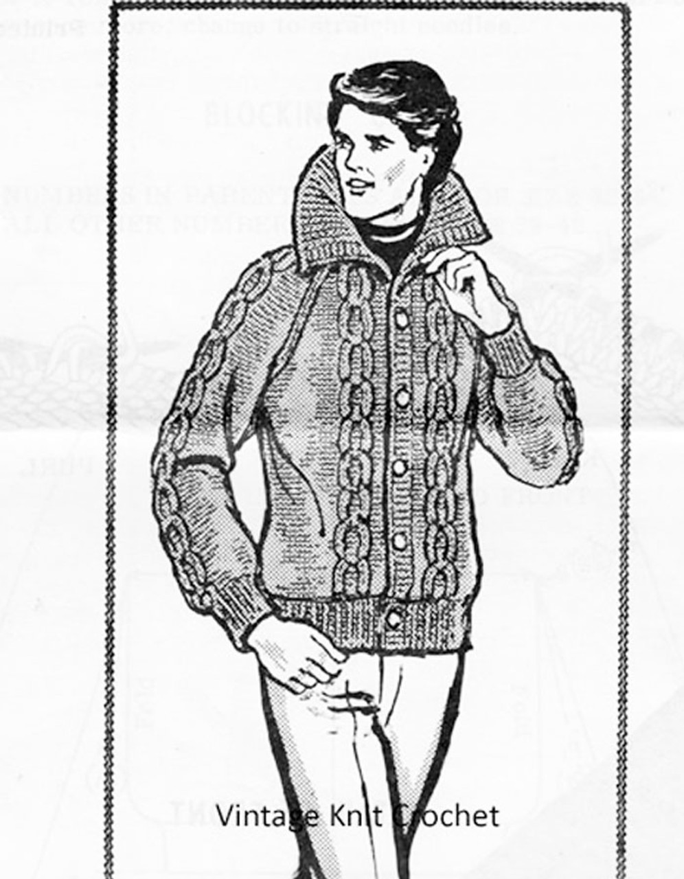 Men Knitted Jacket Pattern, Cable Stitch, Design 987