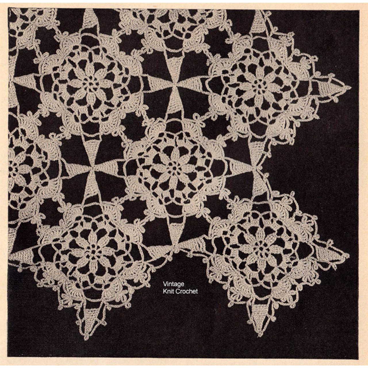Vintage Flower Crocheted Square Pattern, Vintage Workbasket