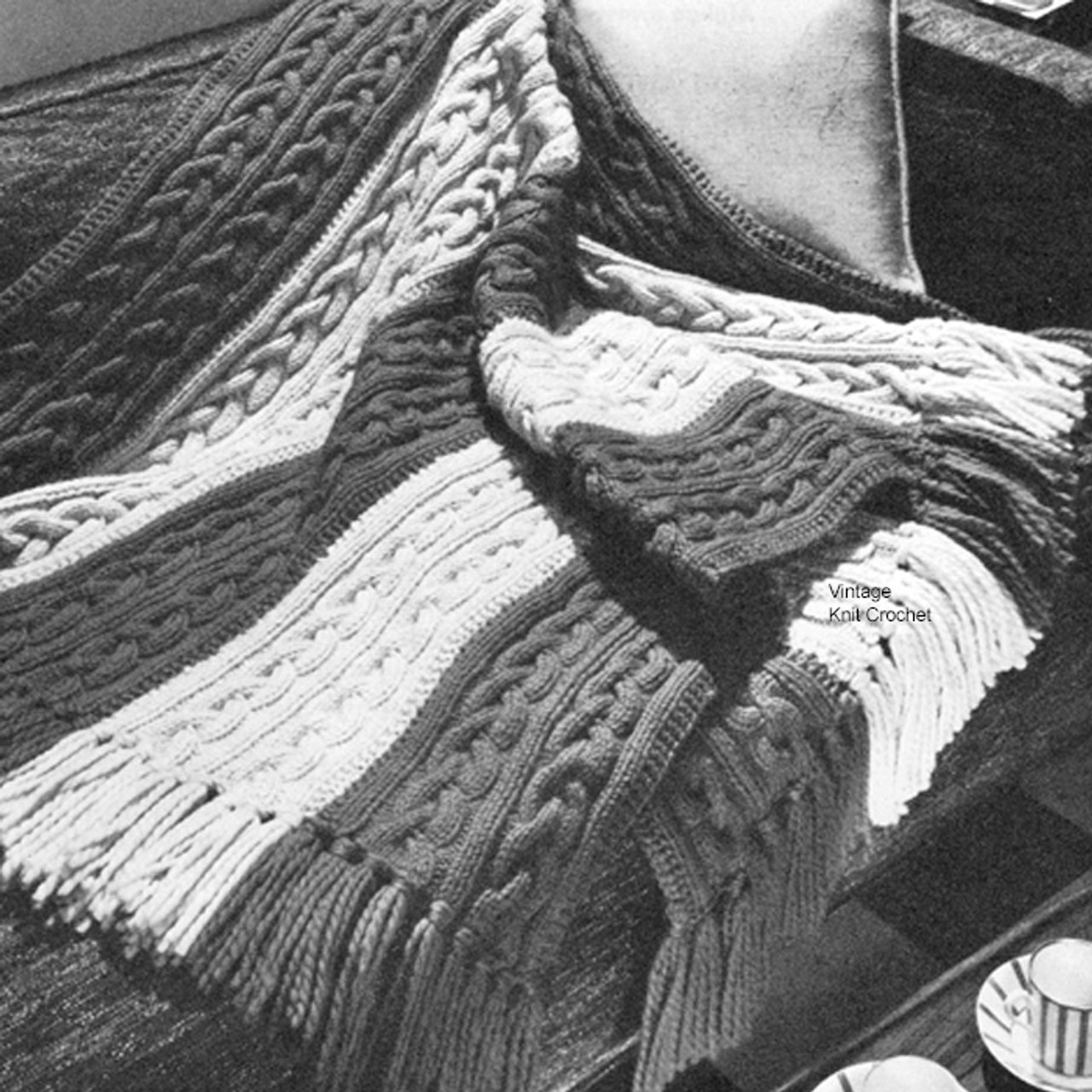 Easy Cable Afghan Pattern in Turbo Knit.