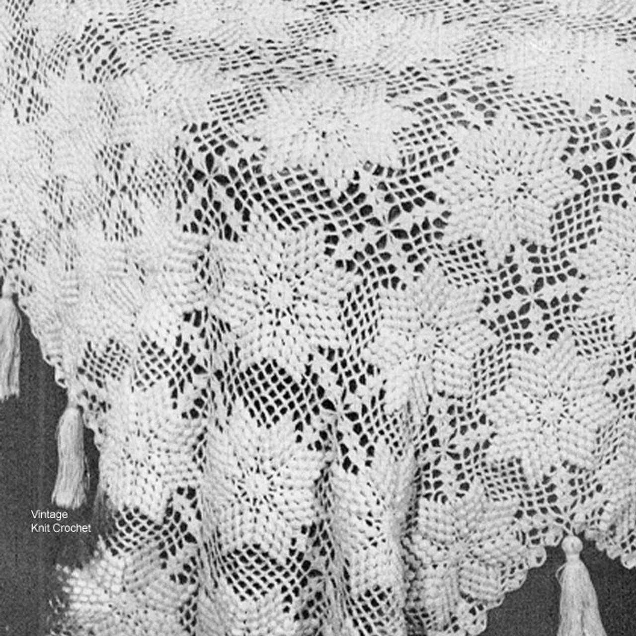 Vintage Crocheted Flower Bedspread Pattern No 6106