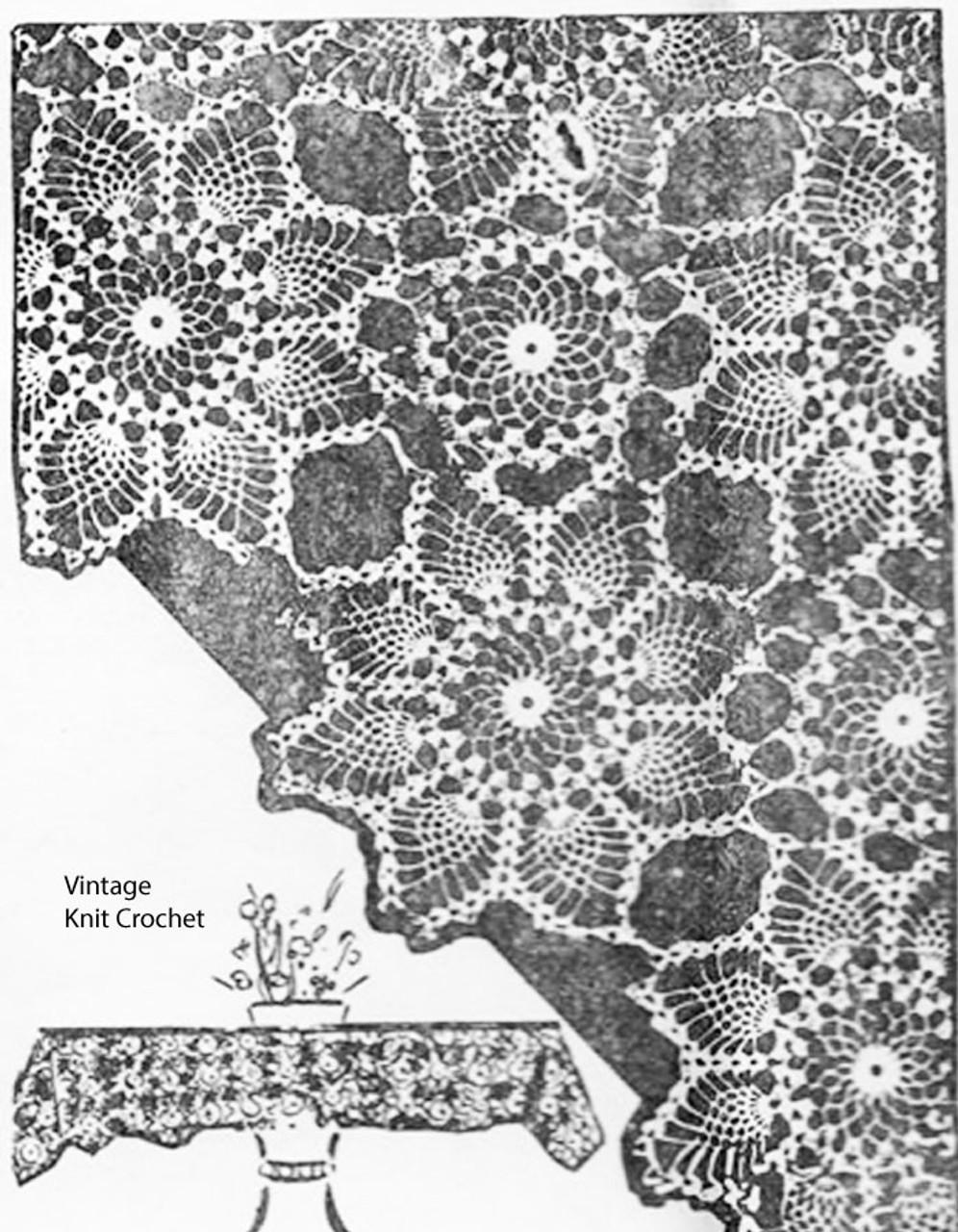 Vintage pineapple crochet medallion pattern, tablecloth, Design 1128