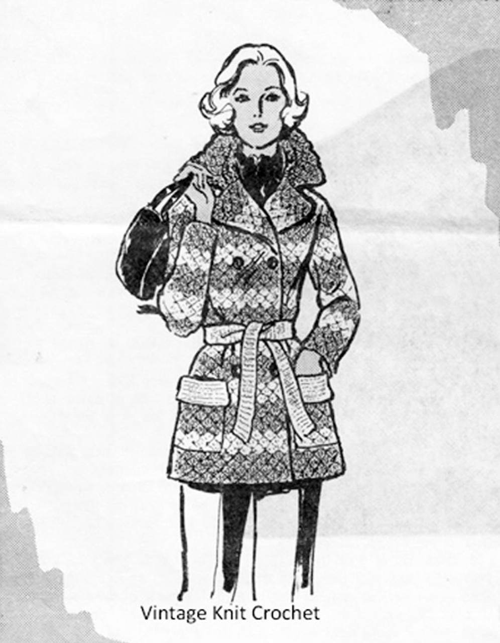 Mail Order Crocheted Coat Pattern, Alice Brooks 7330