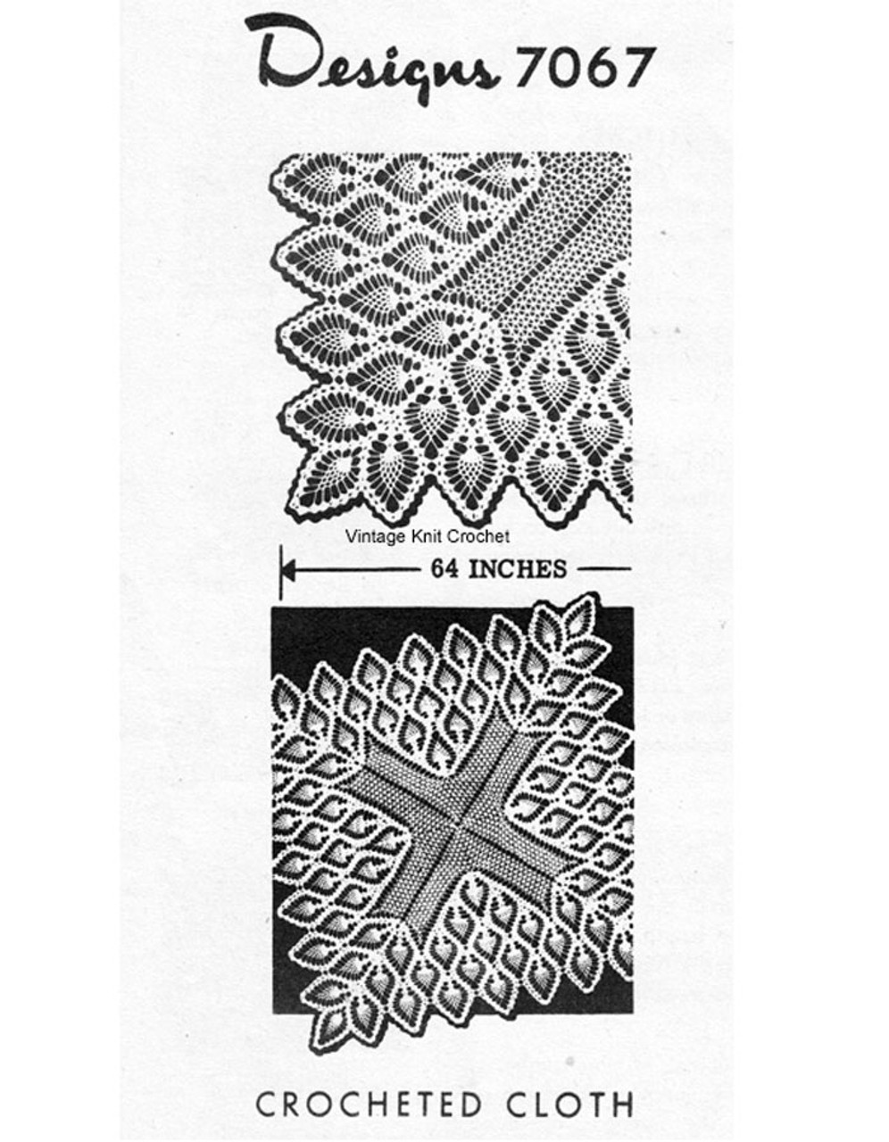 Square Crochet Tablecloth Pattern, Pineapple Design 7067